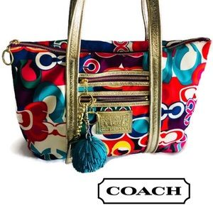 COACH POPPY SIGNATURE GLAM TOTE MULTI-COLOR #13839